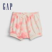 Gap女嬰做舊紮染鬆緊腰休閒短褲543872-俏麗粉