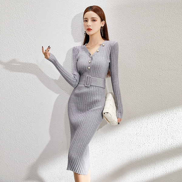 超殺29折 韓系毛衣裙修身V領長版氣質針織優雅長袖洋裝