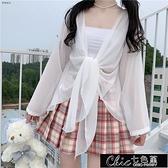 仙女簡約風寬鬆夏季百搭新款披肩燈籠袖繫帶薄款雪紡防曬衣衫【雙十一鉅惠】