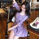 格紋紫色褲裙套裝  ♥ onetwo♥...