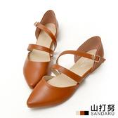 尖頭鞋 皮革繞帶側釦平底鞋- 山打努SANDARU【2469483#46】