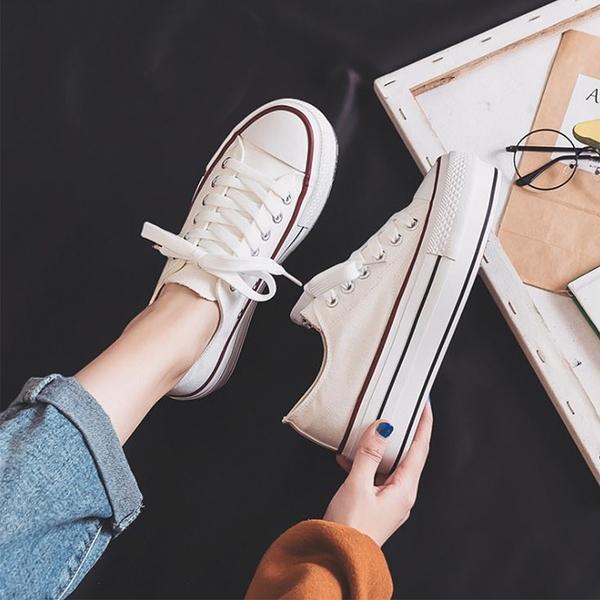 X-INGCHI 女款白色厚底增高休閒帆布鞋-NO.X0370
