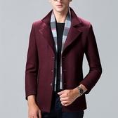 毛呢外套-羊毛純色立領修身短款男大衣2色73pm4【巴黎精品】
