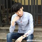 男士秋季復古新款修身夏薄青少年休閒純棉襯衫男長袖學生純色襯衣