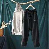 寬鬆束腳刺繡純棉運動褲收口衛褲休閒直筒九分褲-設計家氣質黑