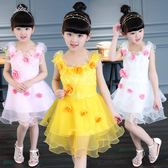 女童2018連身裙秋冬公主范連身裙寶寶周歲禮服3-13歲玫瑰花兒童裙【快速出貨】