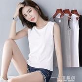 白色吊帶背心女夏內搭純棉寬鬆無袖T恤打底坎袖運動外穿上衣女潮『小淇嚴選』