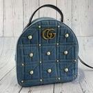 BRAND楓月 GUCCI 古馳 476671 牛仔藍 珍珠造型 皮革 皮質 MARMONT 後背包 書包 旅行外出包