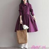 棉麻洋裝春裝新款女裝小清新復古文藝棉麻連身裙大碼寬鬆中長款襯衣裙 JUST M