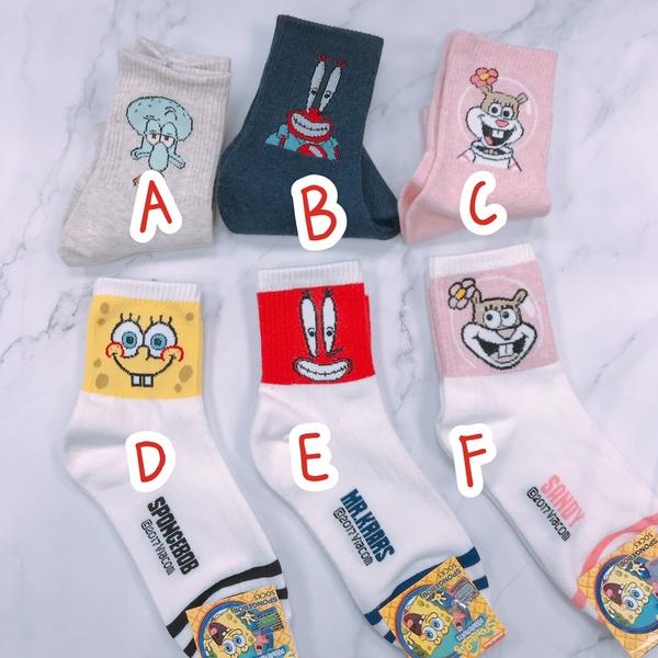 【花想容】韓國襪子 長襪 海綿寶寶 派大星 蟹老闆 章魚哥