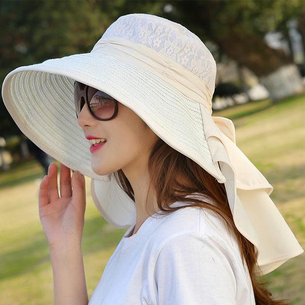 帽子女夏天遮陽帽遮臉防曬帽折疊大沿戶外騎車防紫外線韓版太陽帽