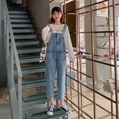 背帶褲小個子泫雅風牛仔褲女秋季新款韓版寬鬆顯瘦洋氣背帶褲九分褲新品
