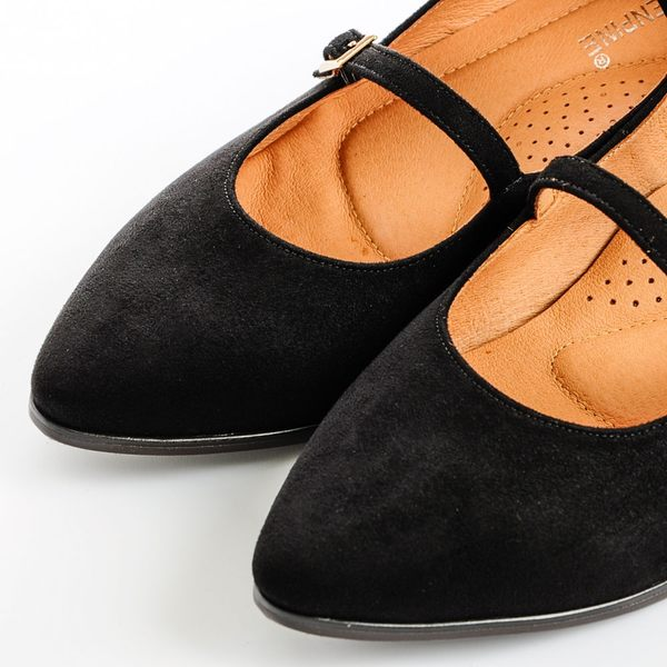 GREEN PINE 多帶後拉鍊低跟瑪莉珍鞋 -黑色
