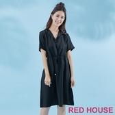 【RED HOUSE 蕾赫斯】釦子V領長洋裝(黑色)-單一特價