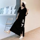 韓東大門長裙休閒T裙L-2XL大碼女裝寬鬆長款V領短袖連衣裙景1F5.5338皇潮天下