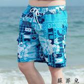 沙灘褲男休閒薄款花短褲