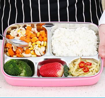304不銹鋼兒童多格餐盤速食盒Eb2971『小美日記』