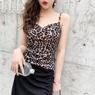 低胸上衣 豹紋吊帶背心女大碼內搭外穿短款打底衫無袖露背性感低胸上衣