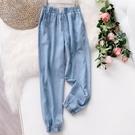 潮流女褲 天絲牛仔褲女2021夏季薄款淺藍色鬆緊腰顯瘦休閒束腳九分哈倫褲女