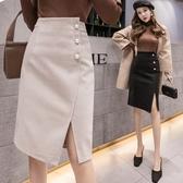 半身裙·及膝裙S-XL秋冬不對稱珍珠扣黑色修身直筒裙西裝裙半身裙T363快時尚