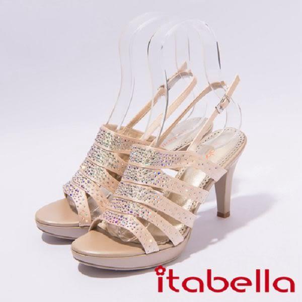 ★2017春夏新品★itabella.晚宴 閃亮水鑽防水台高跟涼鞋(7321-25裸)