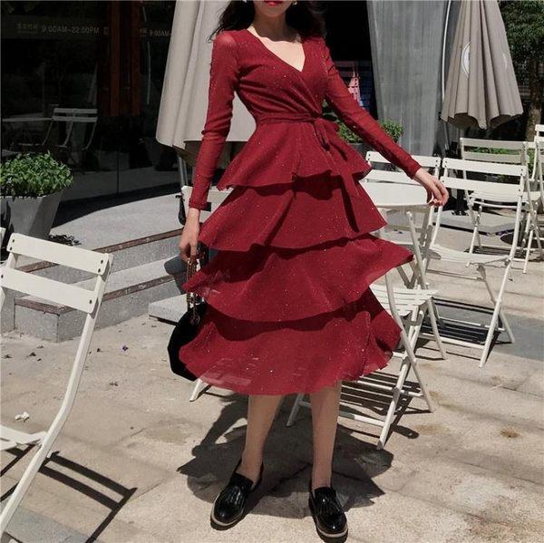 大碼亮片洋裝 長袖連身裙4XL蛋糕裙胖妹妹秋裝女裝氣質仙裙V領中長版-新主流