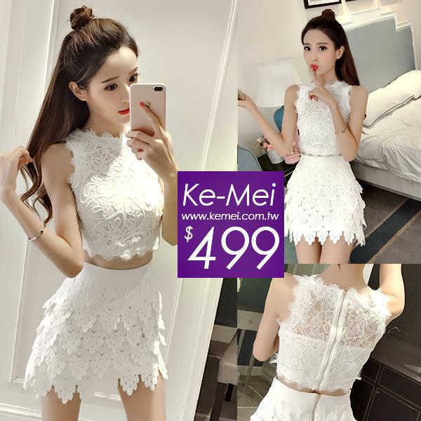 克妹Ke-Mei【ZT51916】女神渡假風 奢華手勾蕾絲上衣+不規則裙洋裝套裝