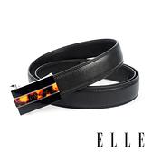 背包族【ELLE HOMME】品牌自動扣皮帶/男士皮帶(黑)-平行火焰壓紋