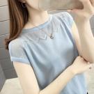 鏤空上衣 冰絲短袖t恤女鏤空寬鬆針織衫女夏季短款上衣體恤女-Ballet朵朵
