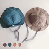 文青木扣綁帶遮陽漁夫帽 童帽 遮陽帽 防曬帽 漁夫帽 盆帽