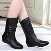歐美版 百麗秋冬季坡跟中筒靴真皮女靴中跟低跟短靴女鞋 深藏blue
