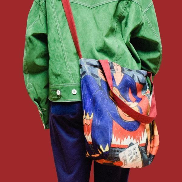 頑皮STUPID秋冬新款包郵馬蒂斯油畫單肩斜挎托特大包時尚購物袋女 ☸mousika