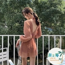 泳衣女女士連身泳衣顯瘦遮肚韓國溫泉保守連體長袖防曬游泳衣 風之海