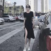 連身裙pp顯瘦home小黑裙chic長裙慵懶風心機設計感洋裝子女夏新款 海角七號