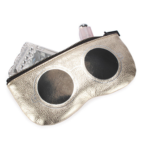 [ NG大放送 ]Rebecca Minkoff眼鏡造型手拿包(白金黑鏡)220122-1