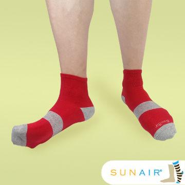 sunair 滅菌除臭襪子-運動薄襪 短筒 (L25~29) (紅+灰) /SA3002