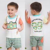 短袖連身衣 仿真相機 拼接 撞色 男寶寶 爬服 哈衣 Augelute Baby 42233