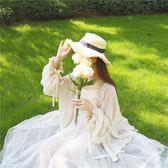 蕾絲寬鬆燈籠袖長袖中長款防曬開衫外套  『米菲良品』