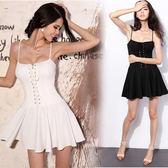 新款韓版小禮服歐美風性感裹胸綁帶蓬蓬裙高腰顯瘦吊帶洋裝 卡布奇诺