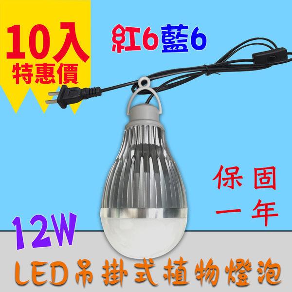吊掛式 植物生長燈 推薦 10入起訂 12W / 12瓦 E27 LED植物燈泡 -紅6藍6 JNP016