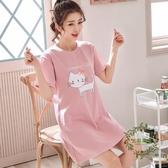 棉質睡衣女夏季短袖可愛薄款連衣裙子正韓學生大尺碼中長款睡裙夏天