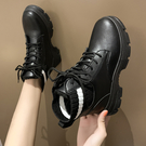 短靴 網紅馬丁靴女英倫風2019年新款女鞋子百搭加絨黑色小短靴冬季棉鞋 快速出貨