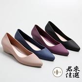 尖頭淺口雨鞋水鞋防滑坡跟淺口膠鞋可愛女雨鞋【君來佳選】