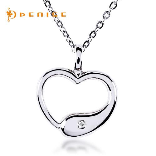 限量款 925純銀鍍白金心型墜「天然鑽石項鍊」主石0.01克拉/銀飾禮品/情人禮物