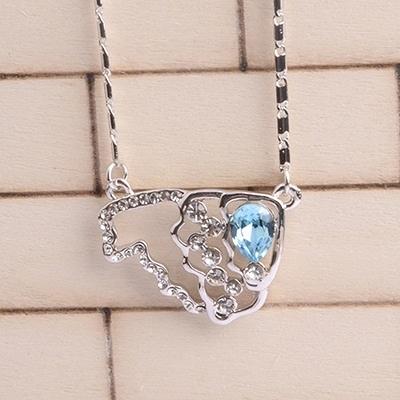925純銀項鍊 鑲鑽墜飾-閃耀短款生日母親節禮物女飾品5色73aj75【巴黎精品】