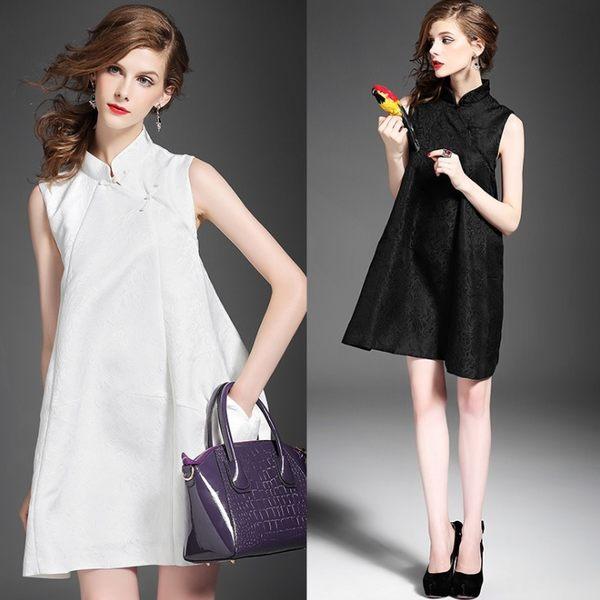 卡樂store...中國風改良式旗袍立領兩粒扣無袖提花大裙擺 2色 S-XL #ar318