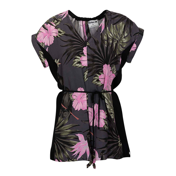 HURLEY|女 W PRINTED WOVEN ROMPER ANTHRACITE 連身褲