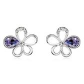 水晶耳環 925純銀(耳針式)-鑲鑽花朵生日情人節禮物女飾品5色73bd147【時尚巴黎】