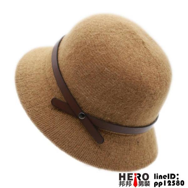 日系百搭盆秋冬季針織帽漁夫帽女英倫帽羊毛帽【邦邦男装】