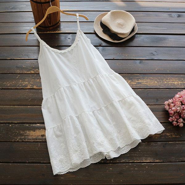 花兔子服飾細肩帶棉麻背心洋裝